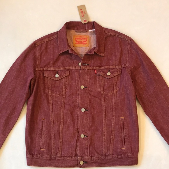 Levis Red Trucker Denim Jean Jacket Mens Large